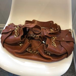 Burberry Vintage large leather bag with brass trim